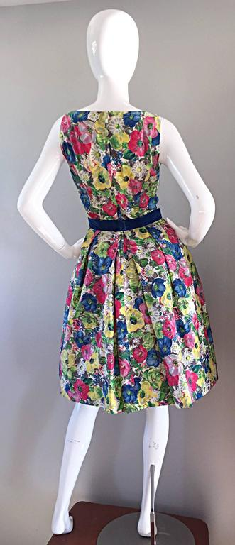 Exquisite 1950s 50s Demi Couture Floral Watercolor Vintage Silk Dress w/ Sequins 7