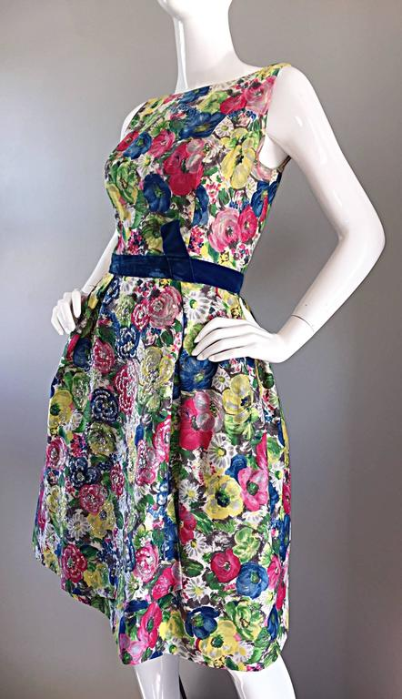 Exquisite 1950s 50s Demi Couture Floral Watercolor Vintage Silk Dress w/ Sequins 4