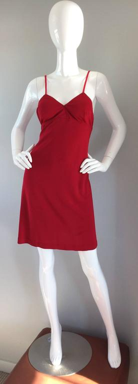 1990s Gianfranco Ferre Sexy Lipstick Red 90s Vintage Jersey Mini Dress 4