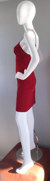 1990s Gianfranco Ferre Sexy Lipstick Red 90s Vintage Jersey Mini Dress 9