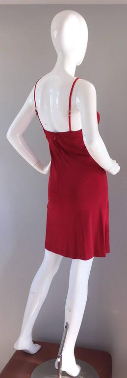 1990s Gianfranco Ferre Sexy Lipstick Red 90s Vintage Jersey Mini Dress 2