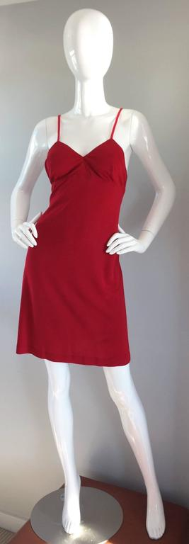1990s Gianfranco Ferre Sexy Lipstick Red 90s Vintage Jersey Mini Dress 3
