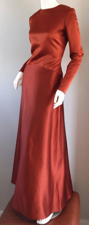 Exceptional Vintage Bill Blass Copper Long Sleeve Silk Satin Evening Gown  6