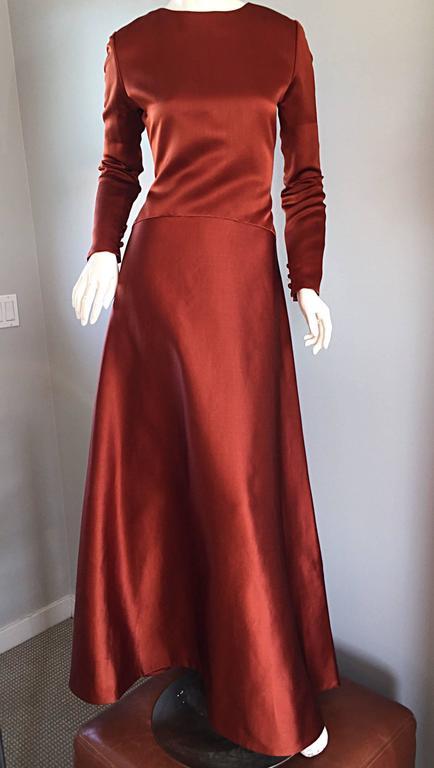 Exceptional Vintage Bill Blass Copper Long Sleeve Silk Satin Evening Gown  7