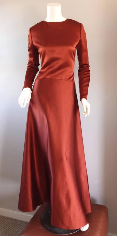 Exceptional Vintage Bill Blass Copper Long Sleeve Silk Satin Evening Gown  For Sale 1