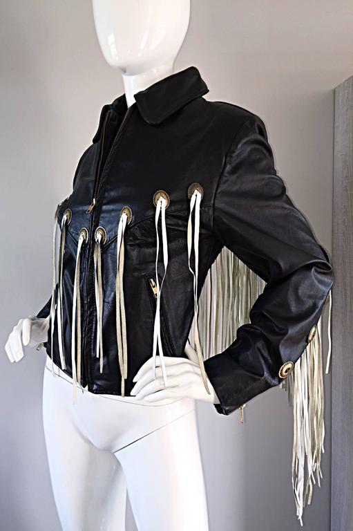 Amazing Vintage Black and White Leather Fringe Biker Western Jacket For Sale 2