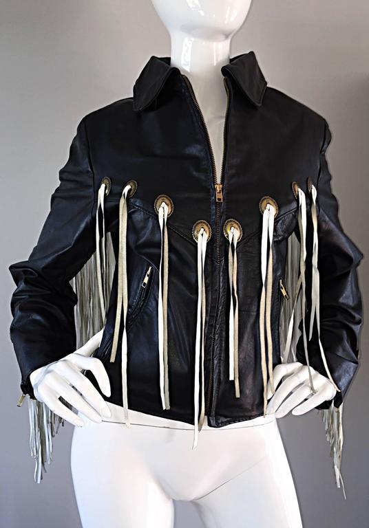 Amazing Vintage Black and White Leather Fringe Biker Western Jacket For Sale 3