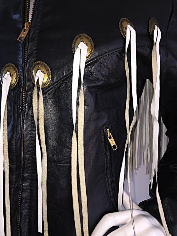 Amazing Vintage Black and White Leather Fringe Biker Western Jacket 10