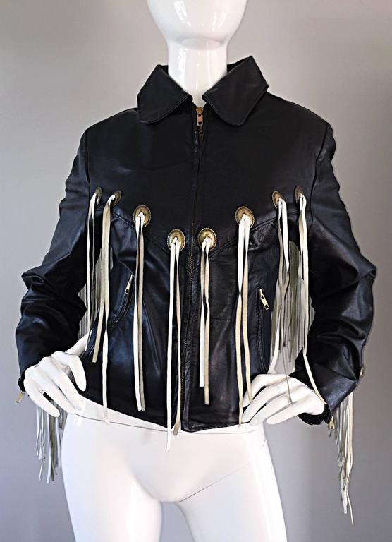Women's Amazing Vintage Black and White Leather Fringe Biker Western Jacket For Sale