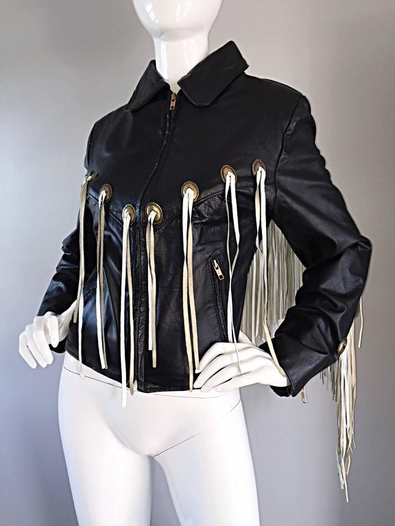 Amazing Vintage Black and White Leather Fringe Biker Western Jacket For Sale 4