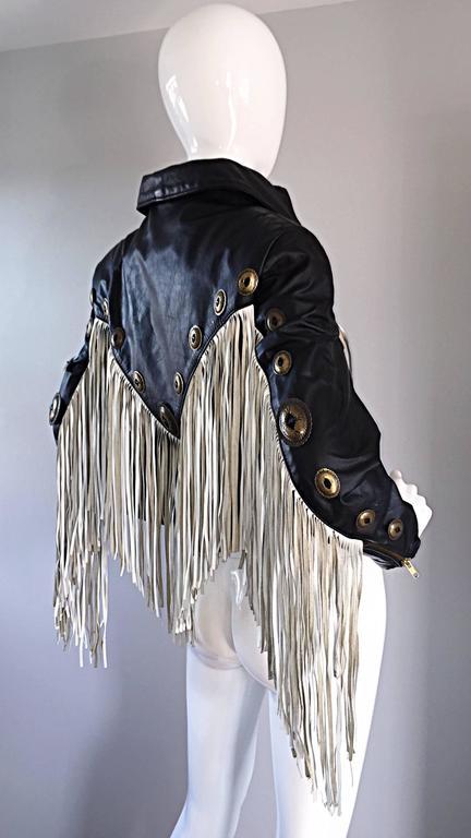 Amazing Vintage Black and White Leather Fringe Biker Western Jacket For Sale 1