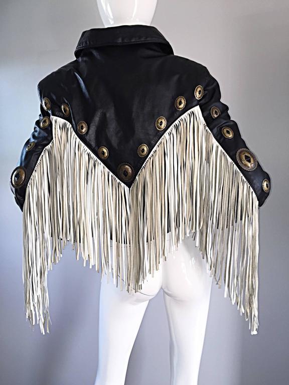 Amazing Vintage Black and White Leather Fringe Biker Western Jacket For Sale 5