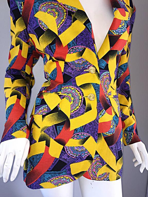Roberto Di Cabrini Vintage ' Ribbon + Paisley ' Print Colorful Cotton Blazer  For Sale 2