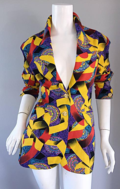 Roberto Di Cabrini Vintage ' Ribbon + Paisley ' Print Colorful Cotton Blazer  In Excellent Condition For Sale In San Francisco, CA