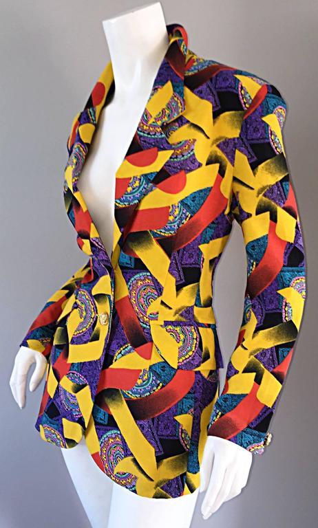 Beige Roberto Di Cabrini Vintage ' Ribbon + Paisley ' Print Colorful Cotton Blazer  For Sale
