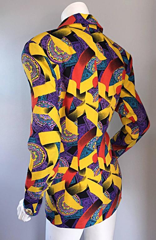 Roberto Di Cabrini Vintage ' Ribbon + Paisley ' Print Colorful Cotton Blazer  For Sale 4