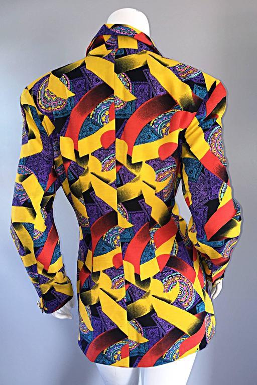 Women's Roberto Di Cabrini Vintage ' Ribbon + Paisley ' Print Colorful Cotton Blazer  For Sale