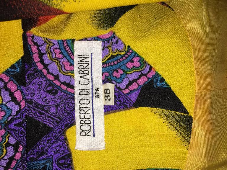 Roberto Di Cabrini Vintage ' Ribbon + Paisley ' Print Colorful Cotton Blazer  For Sale 3