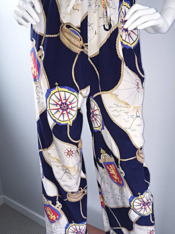 Rare Vintage Gucci Nautical ' Maps + Compass ' Silk Pant Set Jumpsuit  7