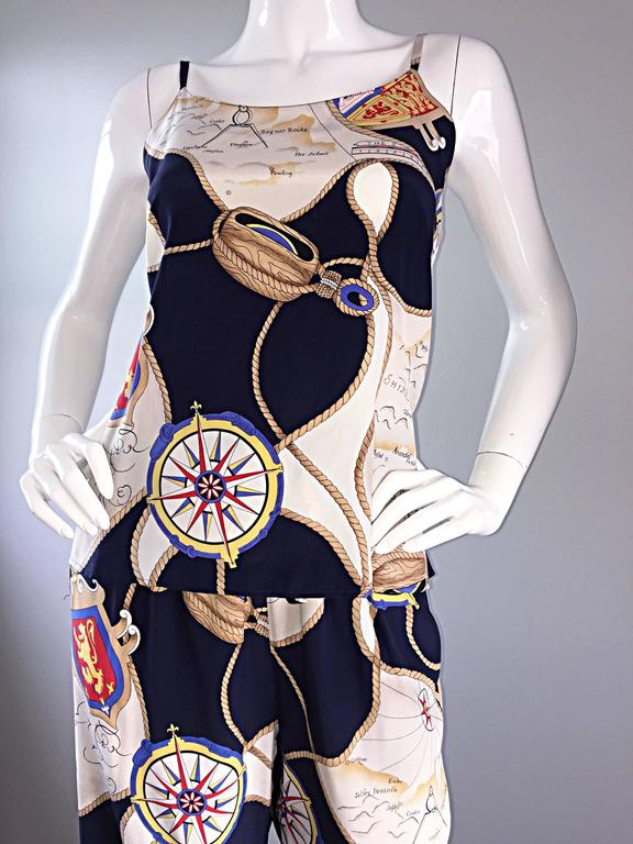 Rare Vintage Gucci Nautical ' Maps + Compass ' Silk Pant Set Jumpsuit  6