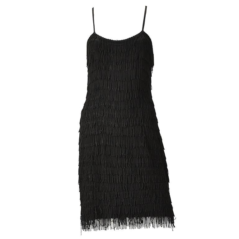 1950s Black Fringe Dress with Matching Fringe Bolero