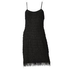 1950s Black Fringe Dress with Matching Fringe Bolero