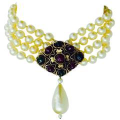 Chanel Pearl Pendant Collar 1980s