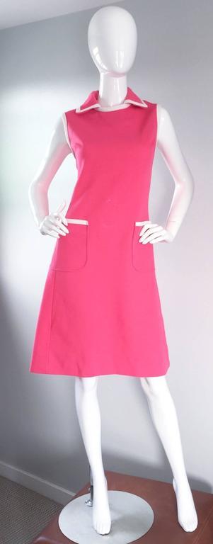 Plus Size Chic Vintage 1960s 60s I. Magnin Hot Pink + White A - Line ...