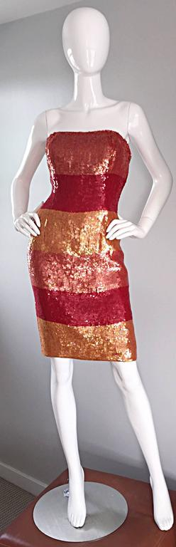 Beautiful Vintage Victor Costa !990s 90s Strapless Sequin Silk Dress For Sale 4