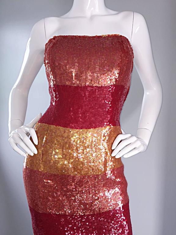 Beautiful Vintage Victor Costa !990s 90s Strapless Sequin Silk Dress For Sale 2