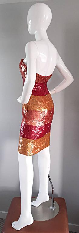 Women's Beautiful Vintage Victor Costa !990s 90s Strapless Sequin Silk Dress For Sale