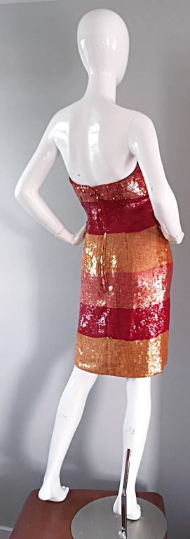 Fabulous vintage Victor Costa strapless sequin dress! Stripes of red, pink, and light orange, with all over sequins, and beaded at the bust. A true show stopper, that flatters the body like no other! Fully lined. Made in USA. Hidden zipper up the
