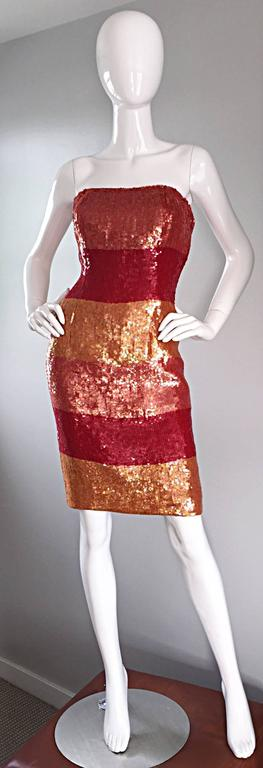 Red Beautiful Vintage Victor Costa !990s 90s Strapless Sequin Silk Dress For Sale