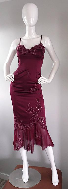 Sexy Mandalay Merlot Wine Silk Beaded Sequin Burgundy Size 12 Dress Flutter Hem 3