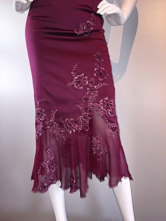 Sexy Mandalay Merlot Wine Silk Beaded Sequin Burgundy Size 12 Dress Flutter Hem 9