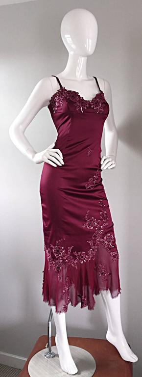 Sexy Mandalay Merlot Wine Silk Beaded Sequin Burgundy Size 12 Dress Flutter Hem 4