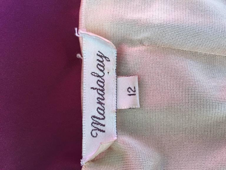 Sexy Mandalay Merlot Wine Silk Beaded Sequin Burgundy Size 12 Dress Flutter Hem 10