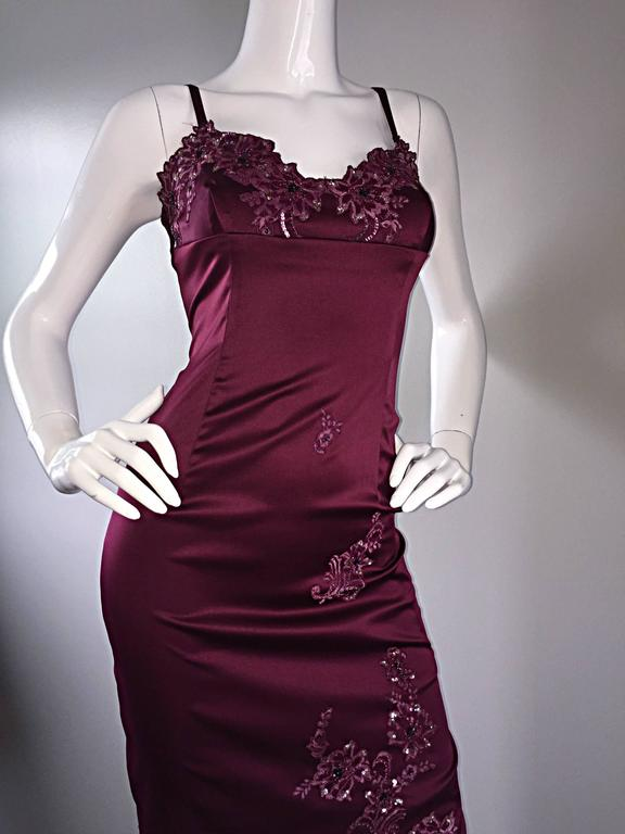 Sexy Mandalay Merlot Wine Silk Beaded Sequin Burgundy Size 12 Dress Flutter Hem 5