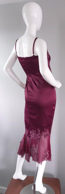 Sexy Mandalay Merlot Wine Silk Beaded Sequin Burgundy Size 12 Dress