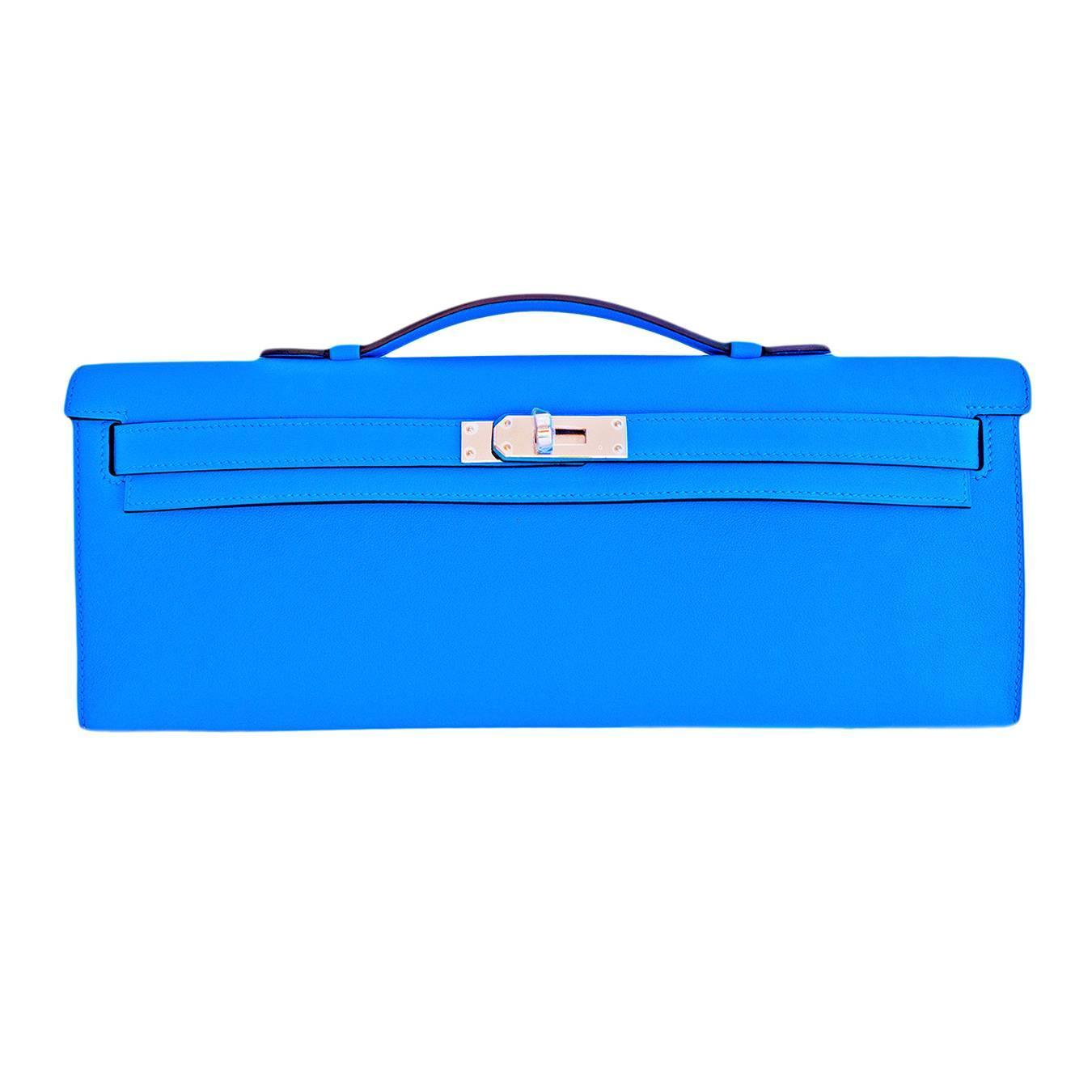 hermes kelly cut pochette- blue paradise swift leather phw
