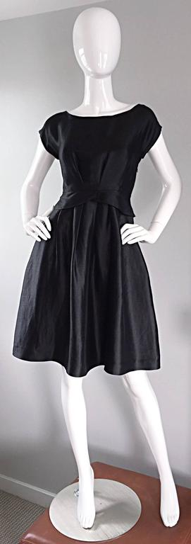 Moschino Black Silk Fit & Flare Perfect Little Black Cocktail Dress LBD  2
