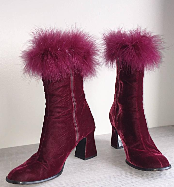 Amazing and rare vintage Charles Jourdan (Size 7.5) ankle boots shoes!  Rich burgundy velvet, with ostrich feathers at ankles. Victorian styled heel. Can easily be dressed up or down. Perfect with shorts, jeans, a skirt, or a dress! In great