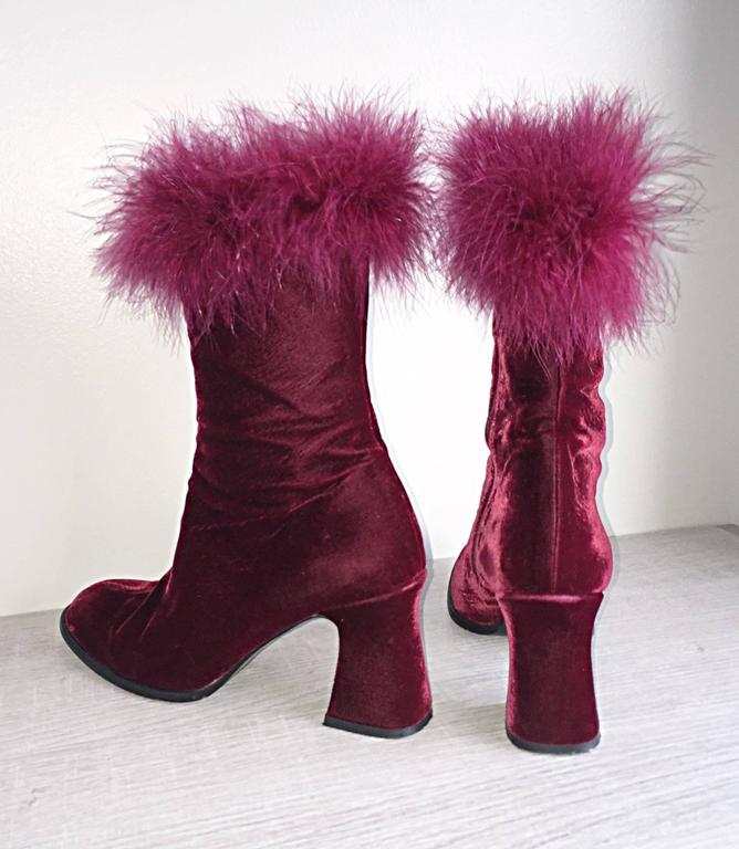 Rare Vintage Charles Jourdan Size 7.5 Merlot Wine Velvet Ostrich Feather Booties In Excellent Condition For Sale In Chicago, IL