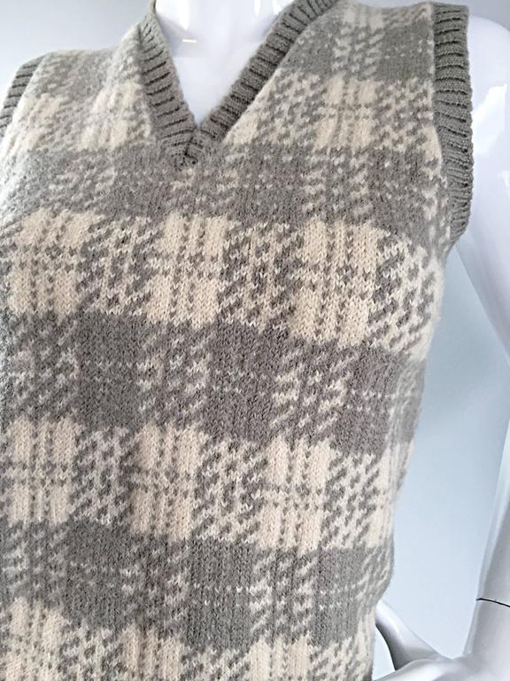 Vintage 1970s Bill Blass Tan + Ivory Plaid Mohair Wool Sweater Vest / Jumper 9