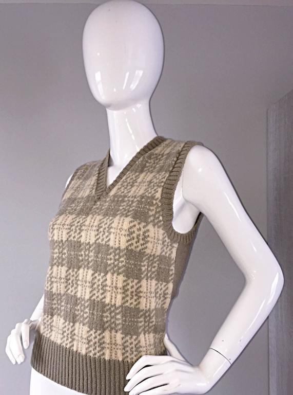 Vintage 1970s Bill Blass Tan + Ivory Plaid Mohair Wool Sweater Vest / Jumper 6