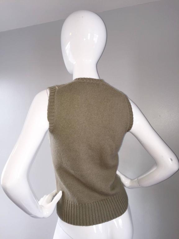 Vintage 1970s Bill Blass Tan + Ivory Plaid Mohair Wool Sweater Vest / Jumper 7