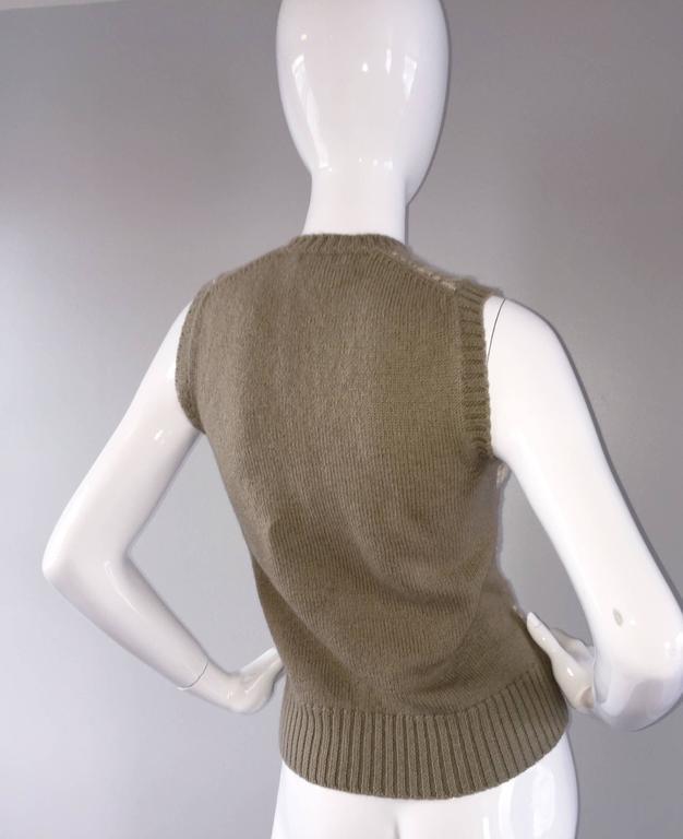 Vintage 1970s Bill Blass Tan + Ivory Plaid Mohair Wool Sweater Vest / Jumper 3