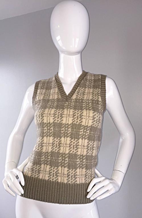 Vintage 1970s Bill Blass Tan + Ivory Plaid Mohair Wool Sweater Vest / Jumper 4