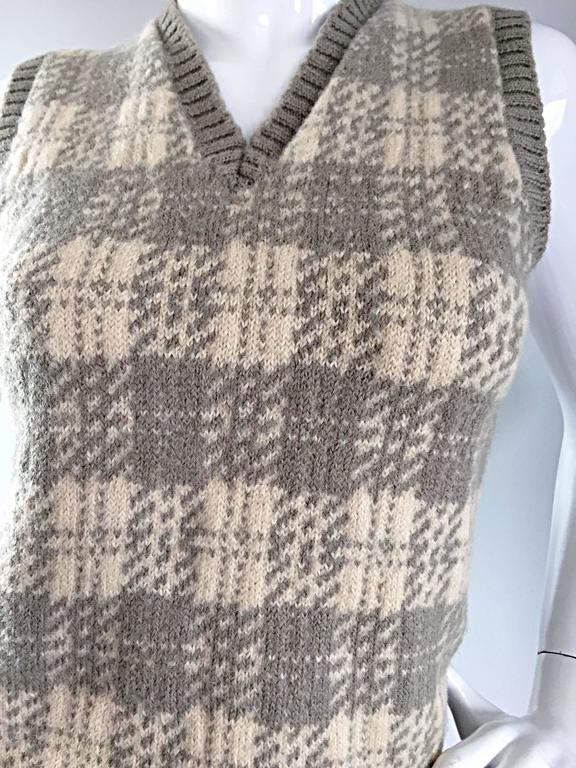 Vintage 1970s Bill Blass Tan + Ivory Plaid Mohair Wool Sweater Vest / Jumper 5
