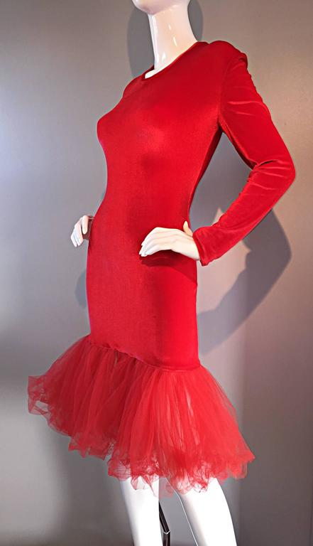 Extraordinary Patrick Kelly 1990s Vintage Red BodCon Mermaid Dress w/ Tulle Hem For Sale 4